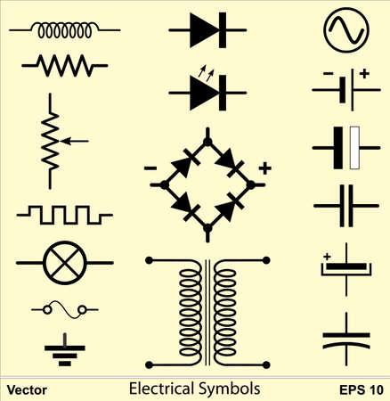 ac voltage source: Electrical Symbols Illustration