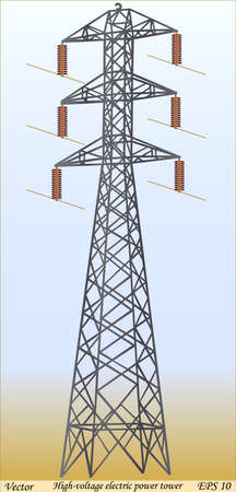copper wire: High-voltage electric power tower Illustration