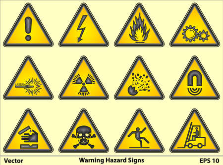 rotating parts: Warning Hazard Signs Illustration
