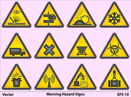 overhead crane: Warning Hazard Signs Illustration