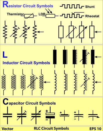 RLC Circuit Symbols Vector