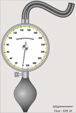 blood pressure gauge: Sphygmomanometer Illustration