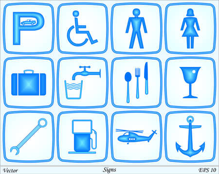 man drinking water: Signs Illustration
