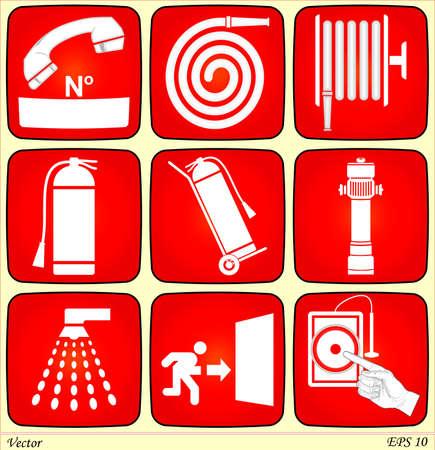 sortir: Alarme incendie signes Illustration