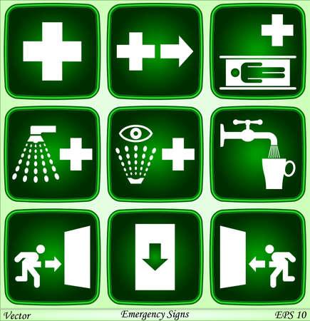 salida de emergencia: Señales de emergencia Vectores