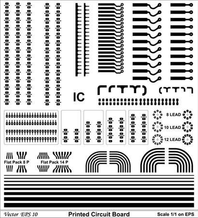 Drawing Printed circuit board of standard size for electronic circuit Stock Vector - 18454296