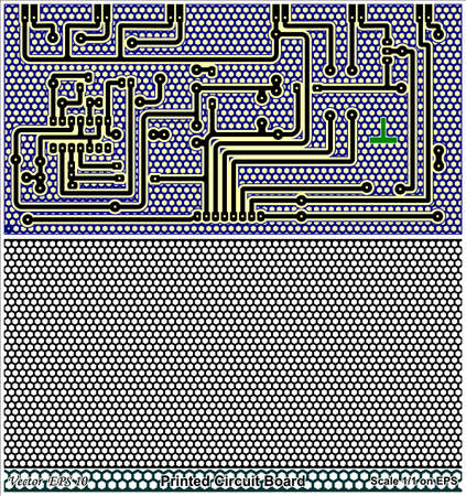 gaps: Drawing Printed circuit board of standard size for electronic circuit - Grill for filling the gaps of the PCB Illustration