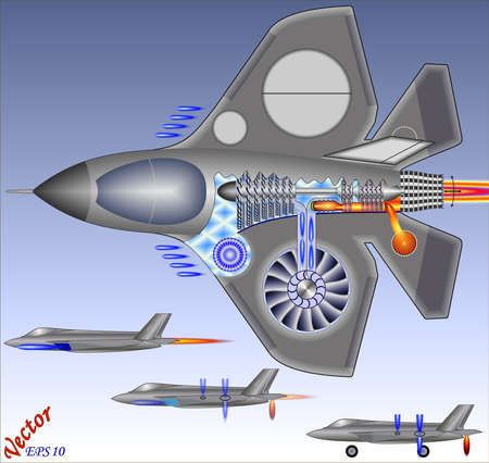 aircraft bomber: Jump Jet - Vertical takeoff and landing  Illustration