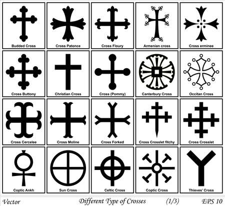gold cross: Different Types of Crosses and Their Meanings Illustration