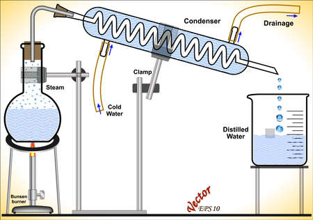 distillation: Making Distilled Water in the Laboratory Illustration