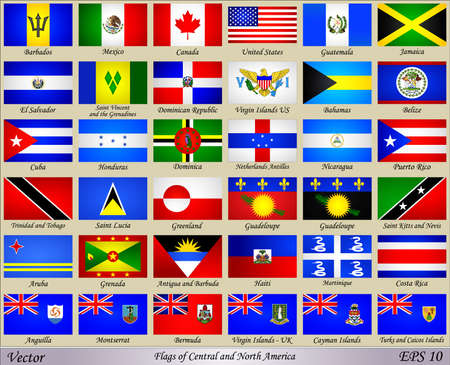 Flags of Central and North America with Names of Countries Stock Illustratie