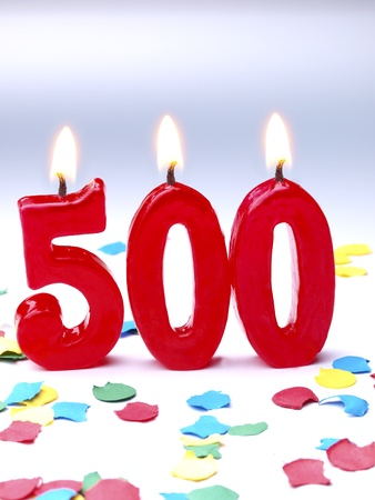 Birthday-anniversary candles showing Nr  500