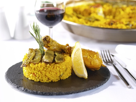 spanish tapas: Paella.  Traditional Valencian Dish.