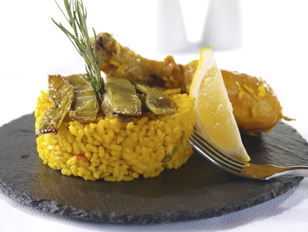 Paella. Traditional Valencian Dish. photo