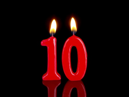 Birthday candles showing Nr. 10
