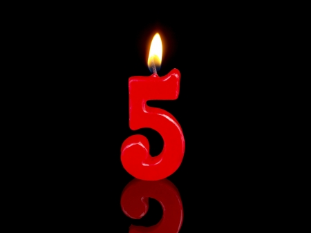 birthday candle: Birthday candle showing Nr. 5