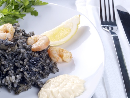 Arroz Negro Black Rice   Traditional Valencian Dish   photo