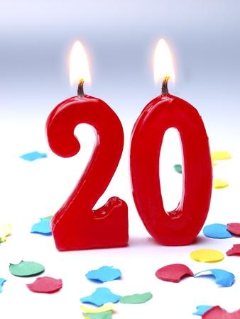 Bougies d'anniversaire montrant Nr. 20 Banque d'images - 15551022
