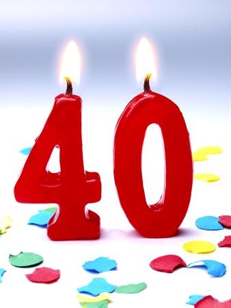 Bougies d'anniversaire montrant Nr. 40