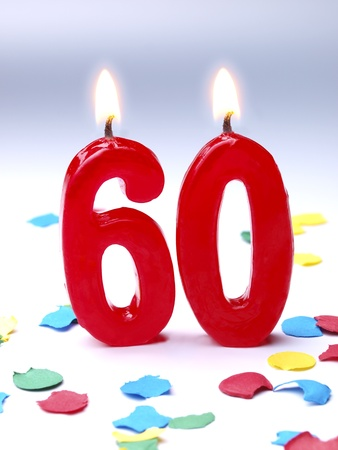 Birthday candles showing Nr  60 photo