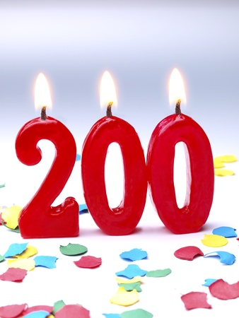 Birthday candles showing Nr  200
