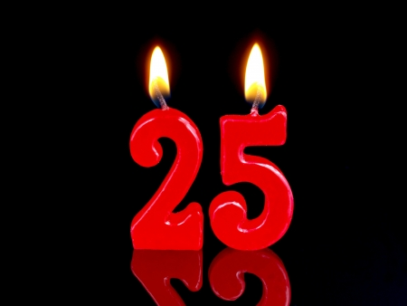 Birthday candle showing Nr. 25