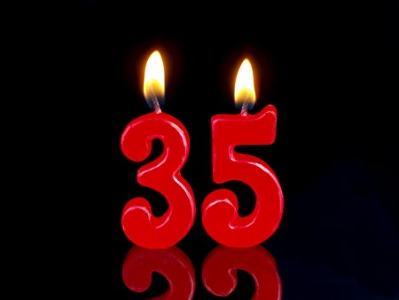 Birthday candle showing Nr. 35 Stock Photo