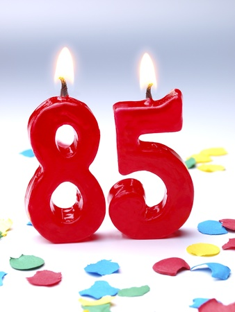 Birthday candles showing Nr. 85