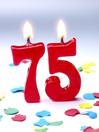 Birthday candles showing Nr. 75 Zdjęcie Seryjne