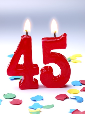 45: Birthday candles showing Nr. 45