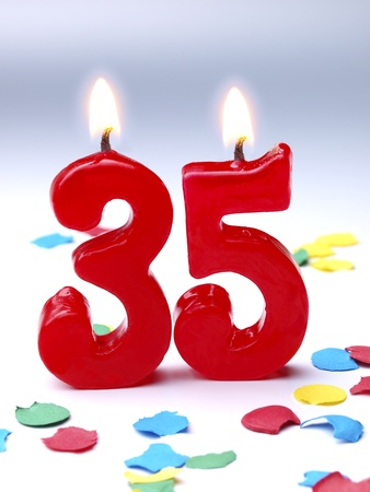 Birthday candles showing Nr. 35
