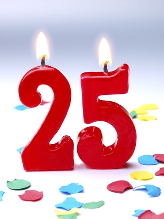 25: Birthday candles showing Nr. 25 Stock Photo
