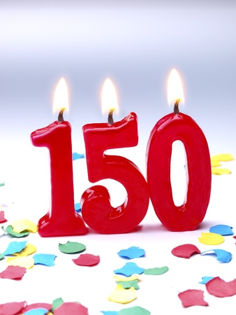 Birthday candles showing Nr. 150