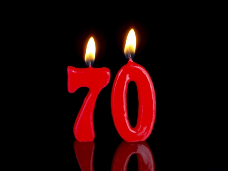 70: Birthday candles showing Nr. 70