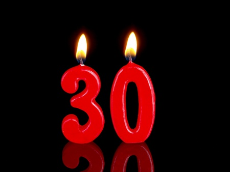 Birthday candles showing Nr. 30