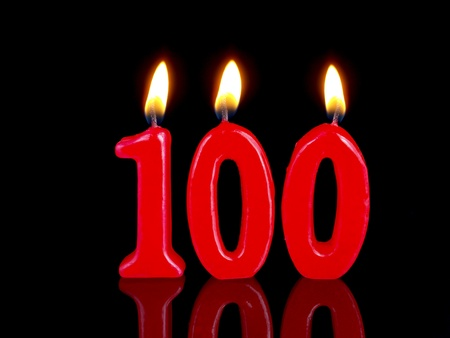 Birthday candles showing Nr. 100 photo