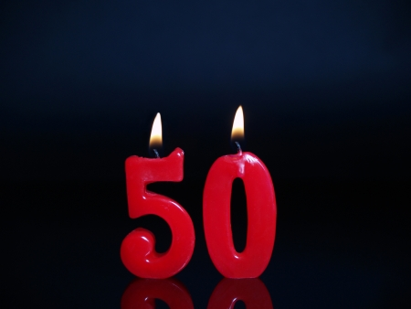 Birthday candles showing Nr. 50