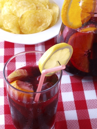 Sangria is a typical Spanish and Portuguese wine punch photo