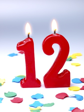 twelve: Birthday candles showing No. 12