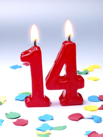 Birthday candles showing No. 14 版權商用圖片