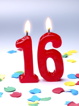 number 16: Birthday candles showing No. 16