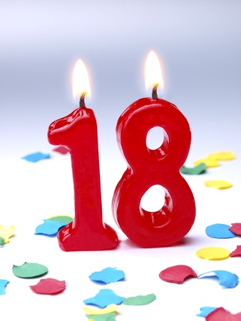 18: Birthday candles showing No. 18 Stock Photo