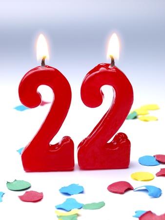 geburtstagskerzen: Geburtstagskerzen zeigt Nr. 22 Lizenzfreie Bilder