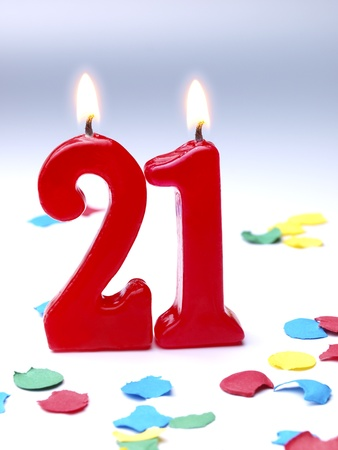 Birthday candles showing No. 21
