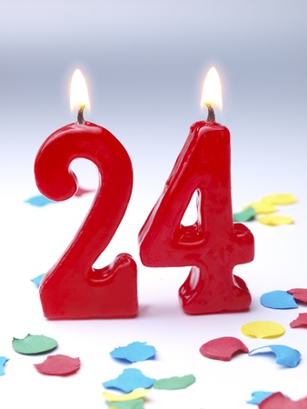 Birthday candles showing No. 24 photo