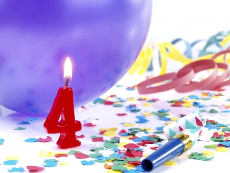 Birthday candles showing Nr  4 Stock Photo