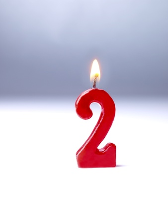 velas de cumpleaños: Velas de cumpleaños que muestran No. 2