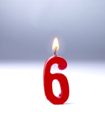 number 6: Birthday candles showing No. 6