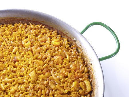 Traditional Valencian Dish   The Arroz A Banda is a kind of seafood paella cooked  with seafood  stock   版權商用圖片