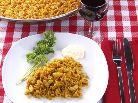 Traditional Valencian Dish   The Arroz A Banda is a kind of seafood paella cooked  with seafood  stock   photo